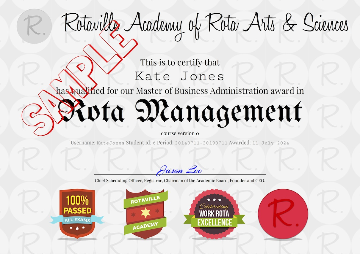 Rota Management Certificate