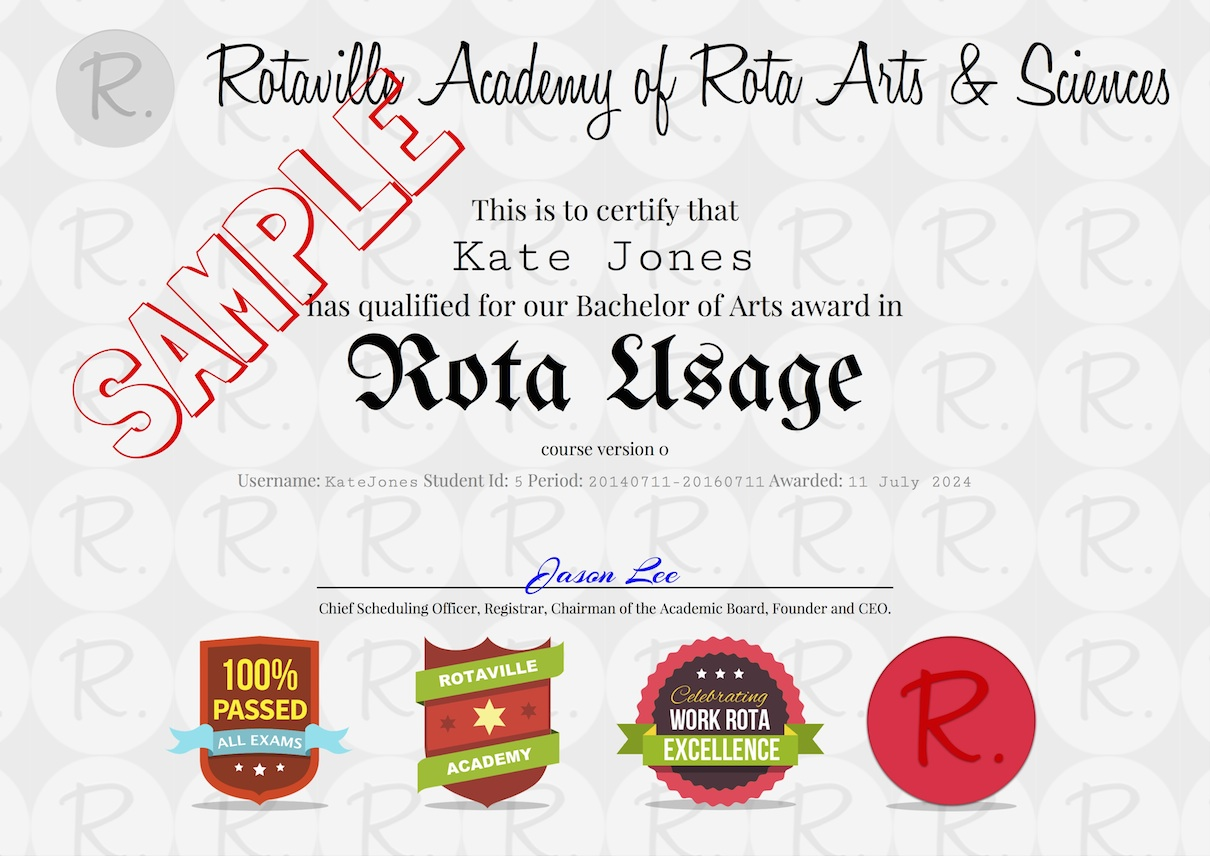 Rota Usage Certificate