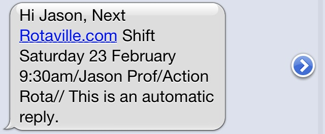 next shift sms message