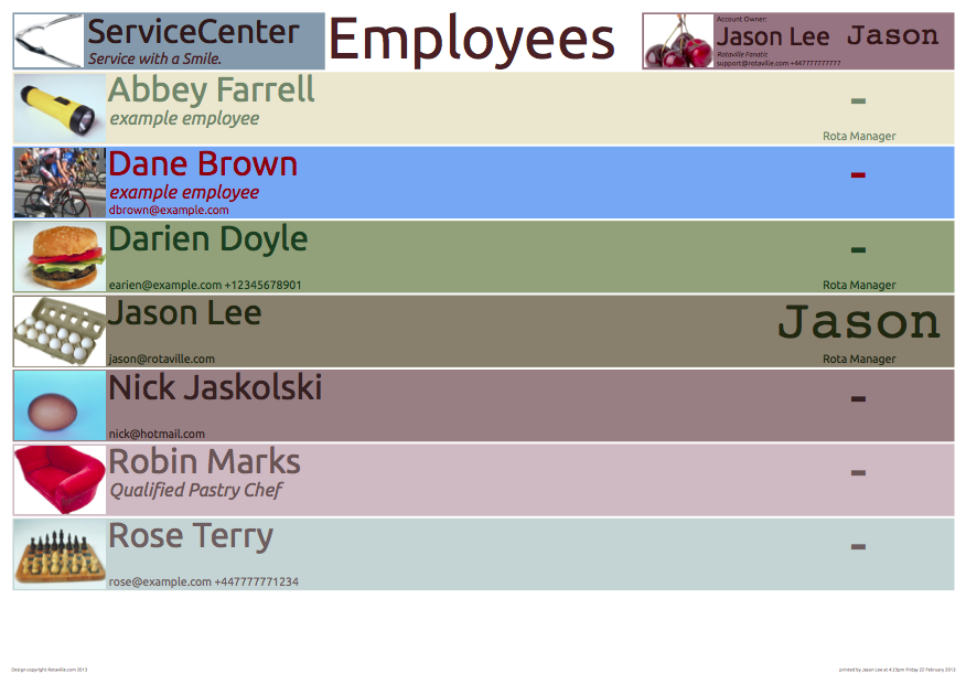Staff Contact List