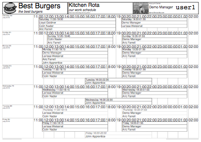 Black and White PDF Printout of the Rota